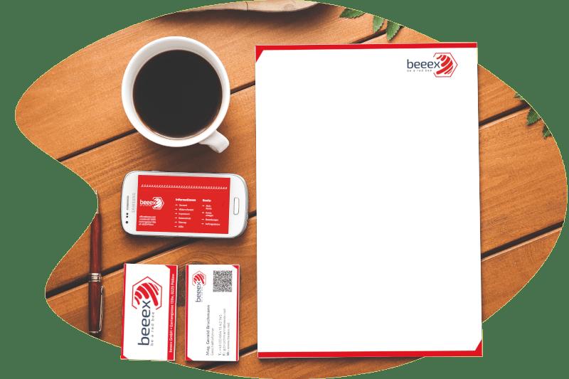 Grafischer Webauftritt, Briefpapier und Visitenkarten der beeex GmbH