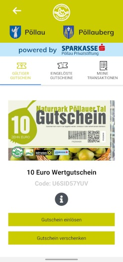Gutscheine Kaufen, Verschenken und Einlösen in der Pöllauer Tal App